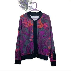 Purple Fabletics Ithaca Floral Bomber Jacket Large